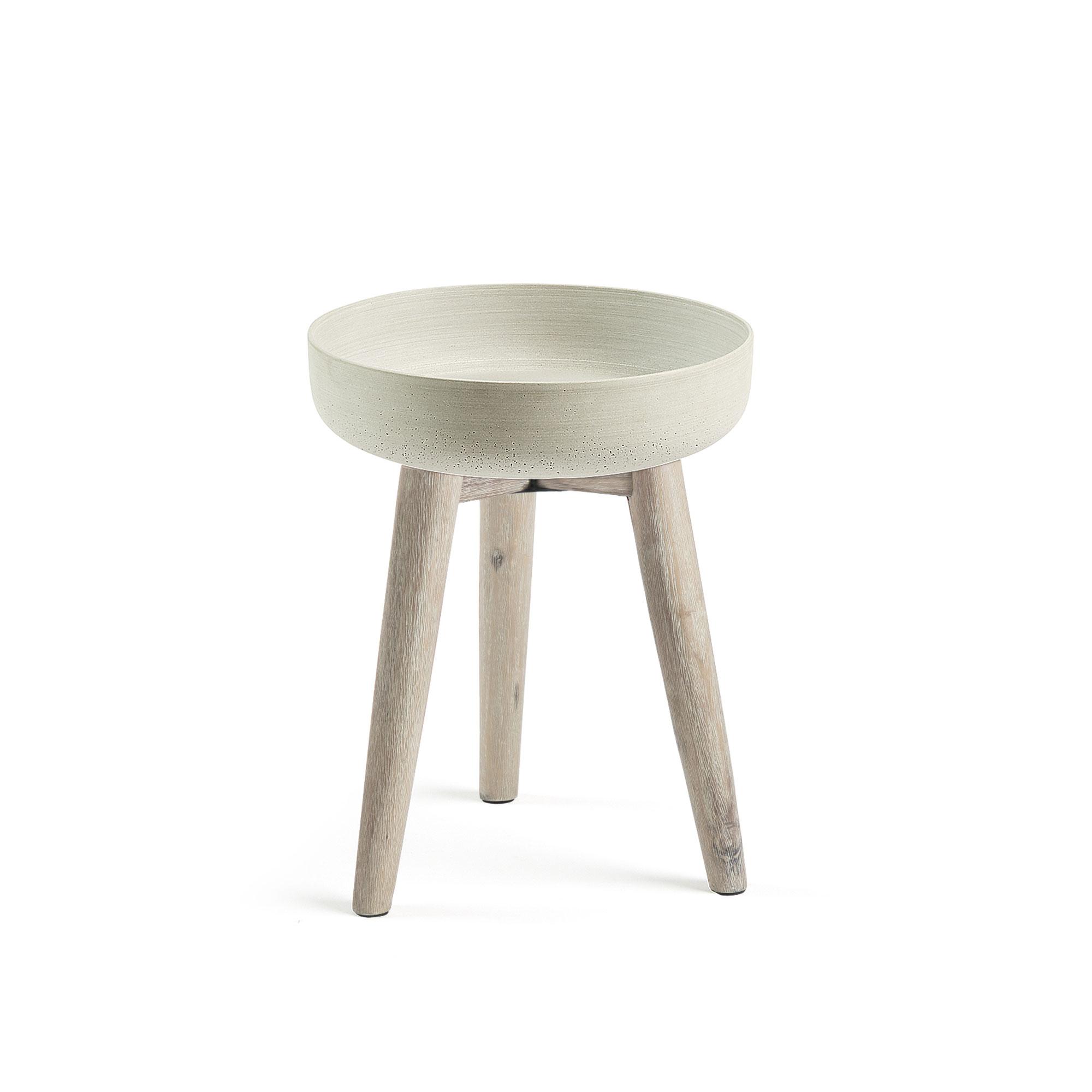 laforma – Laforma stahl urtepotteskjuler - grå/natur cement/akacietræ, rund (ø36) på boboonline.dk