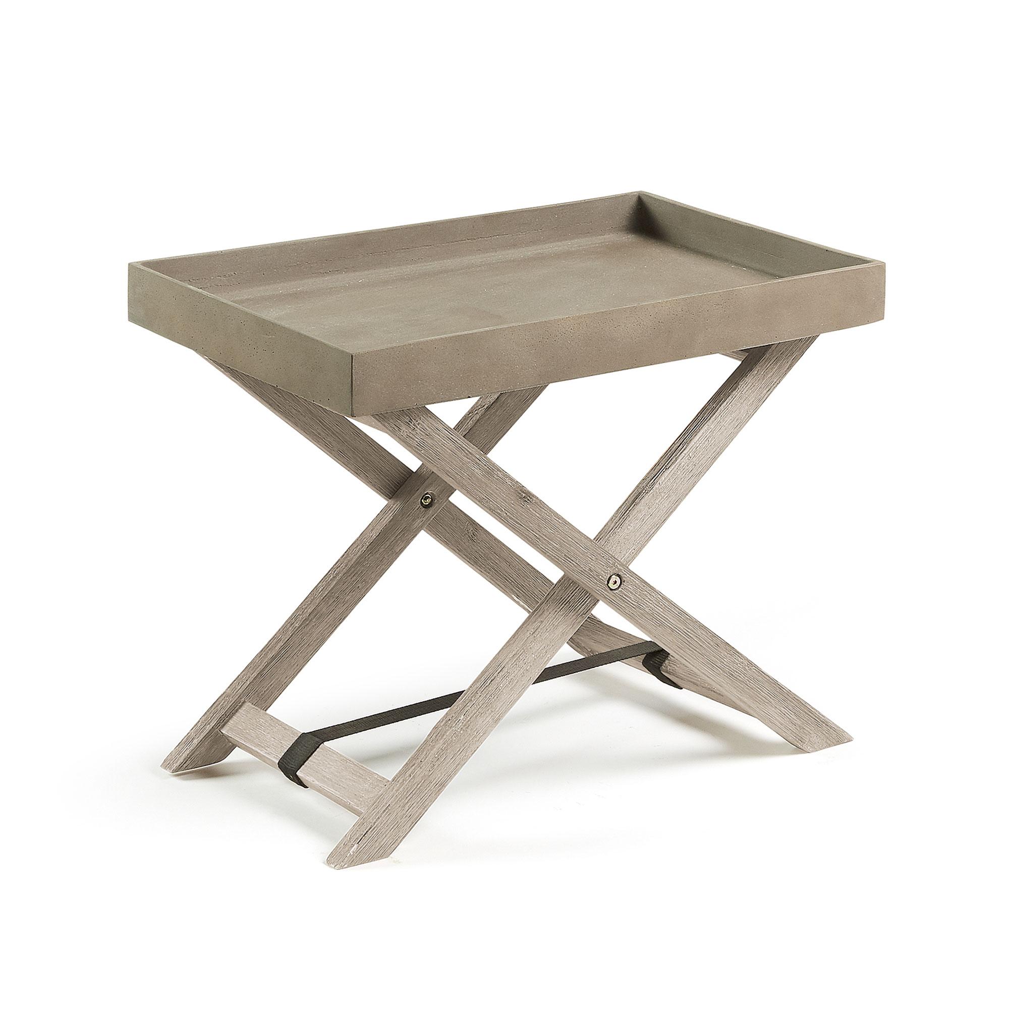 laforma – Laforma stahl bakkebord - rustbrun/natur cement/akacietræ (55x35) på boboonline.dk