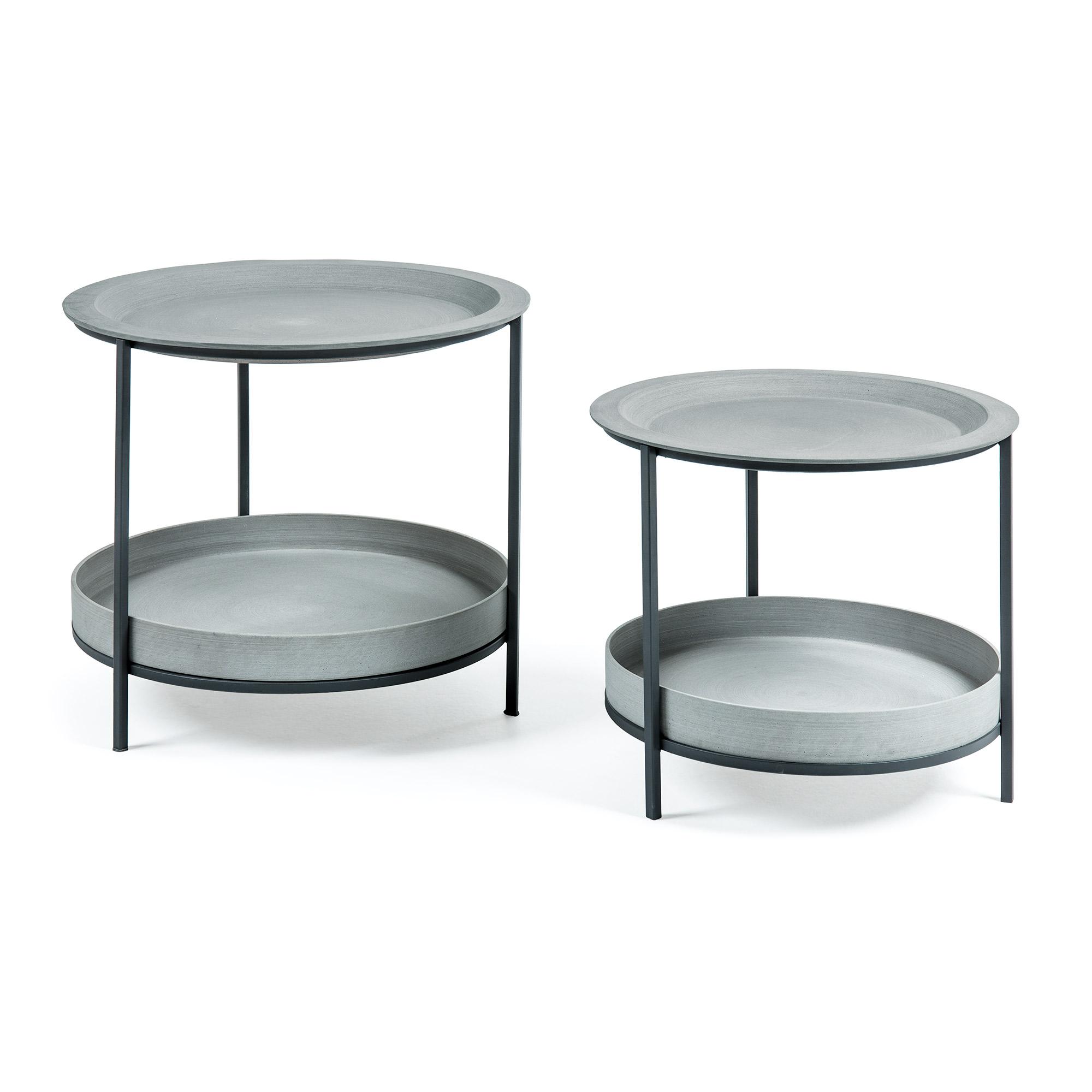 Sleet sidebord - grå/sort cement/metal, m. hylde (sæt á 2)