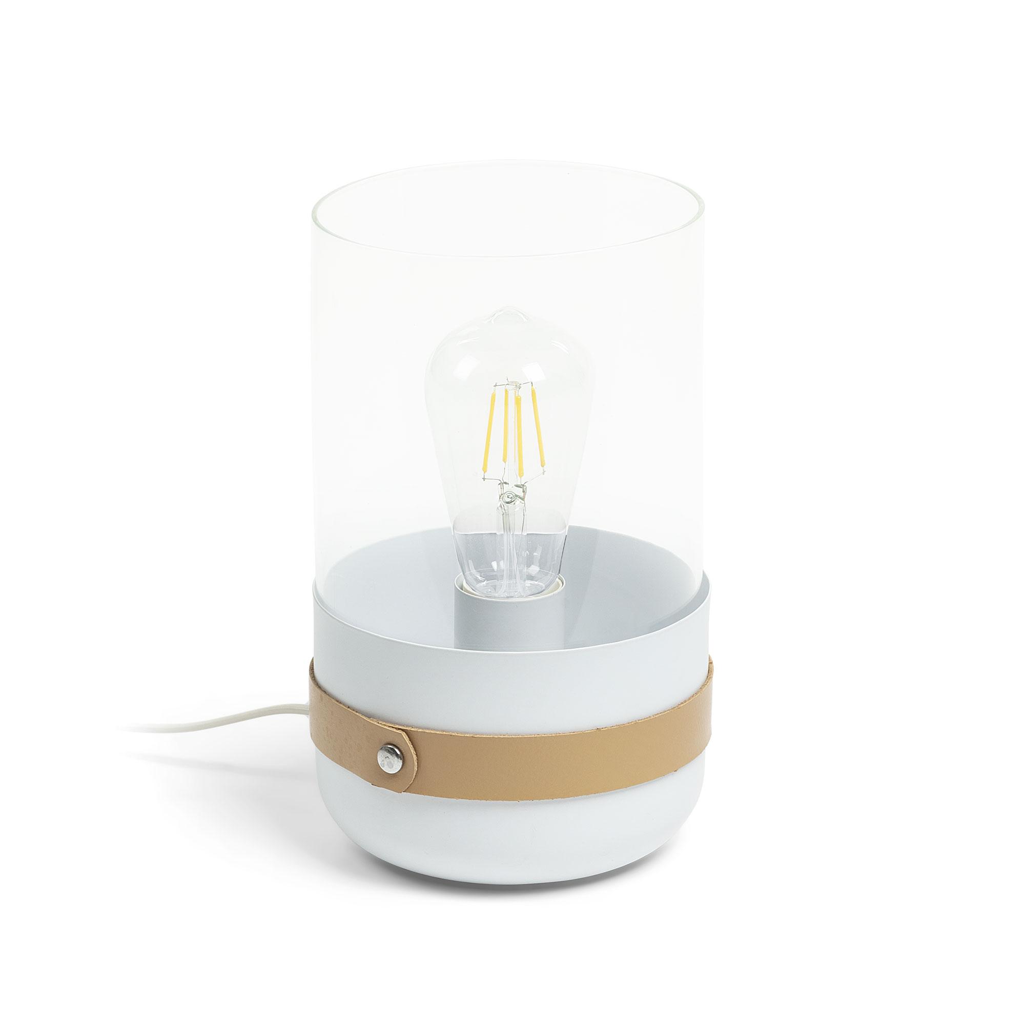 laforma Laforma ramford bordlampe - hvid/natur/klar metal/læder/glas, rund (ø15) på boboonline.dk