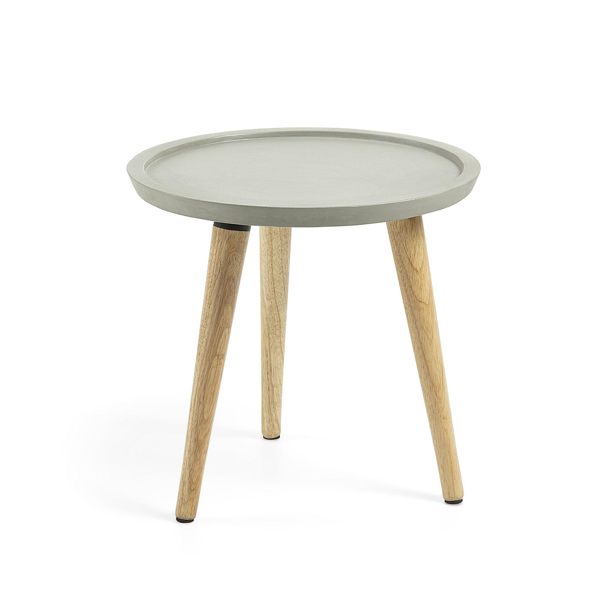 laforma laforma livy sidebord - grå/natur cement/gummitræ, rund (ø40)
