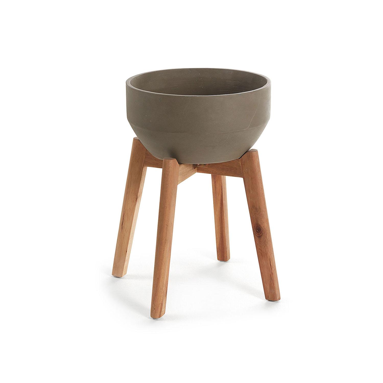Laforma Subject Potte - Grå Keramik Og Natur Akacietræ Havemøbler