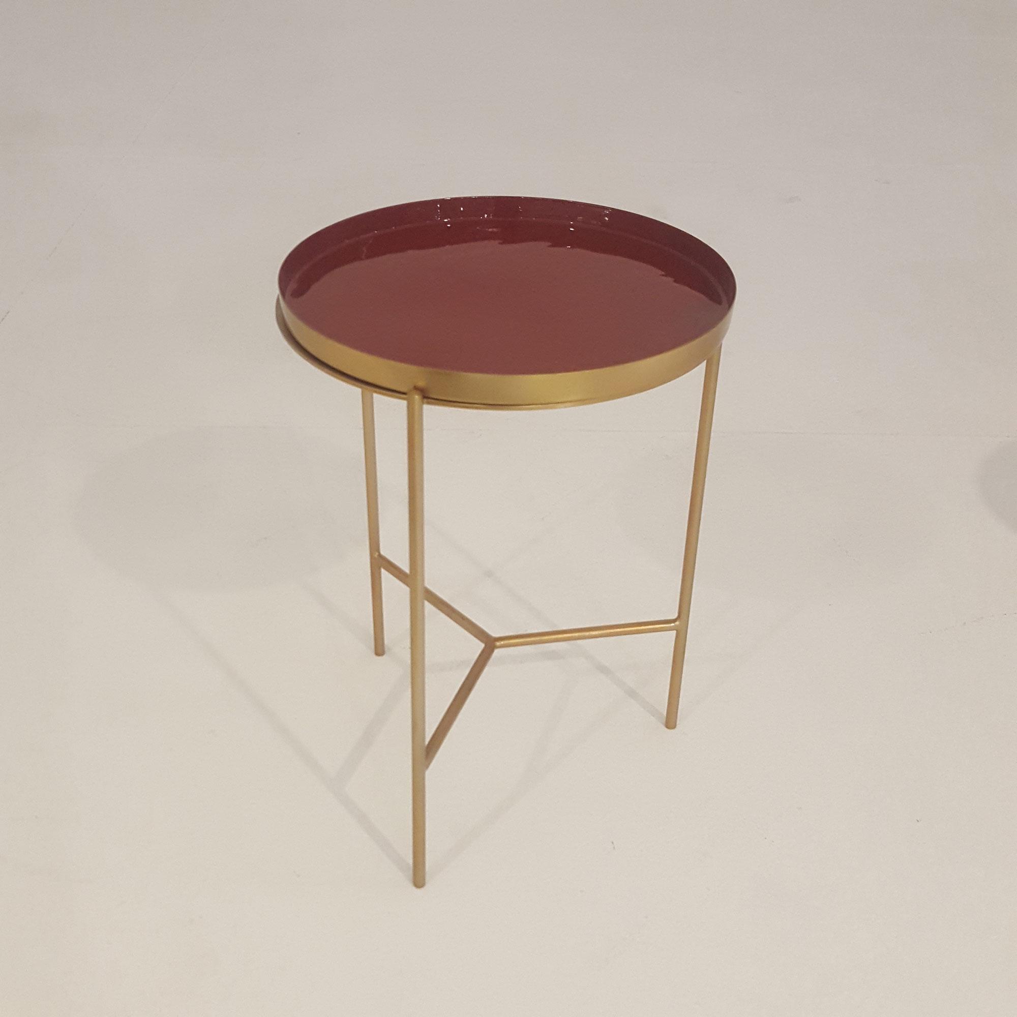 laforma Laforma naoko bakkebord - guld/rødbrun metal/emalje, rund (ø31) på boboonline.dk