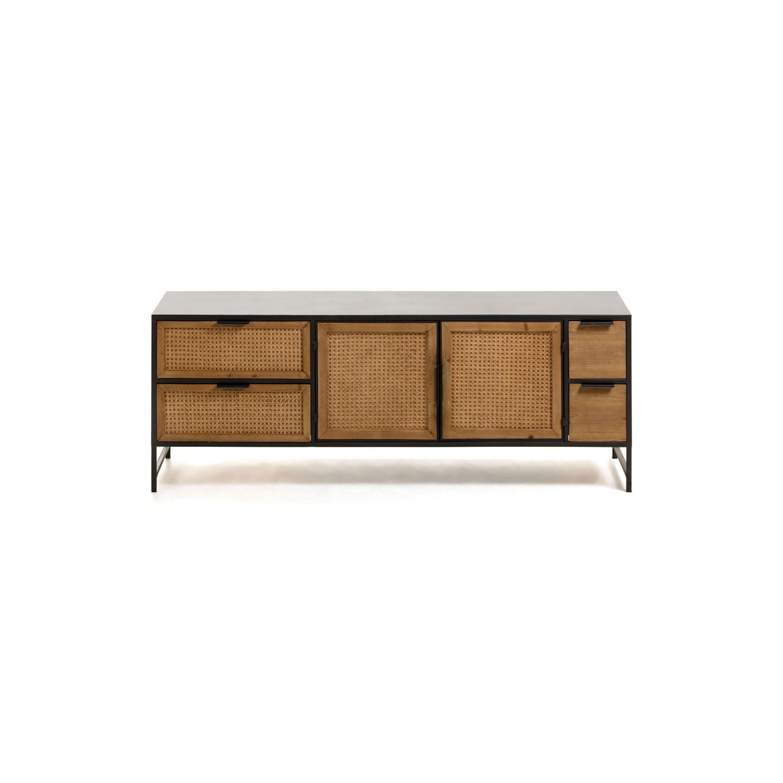 LAFORMA rektangulær Kyoko TV-bord m. 2 låger og 4 skuffer - natur træ og sort metal (150x40)