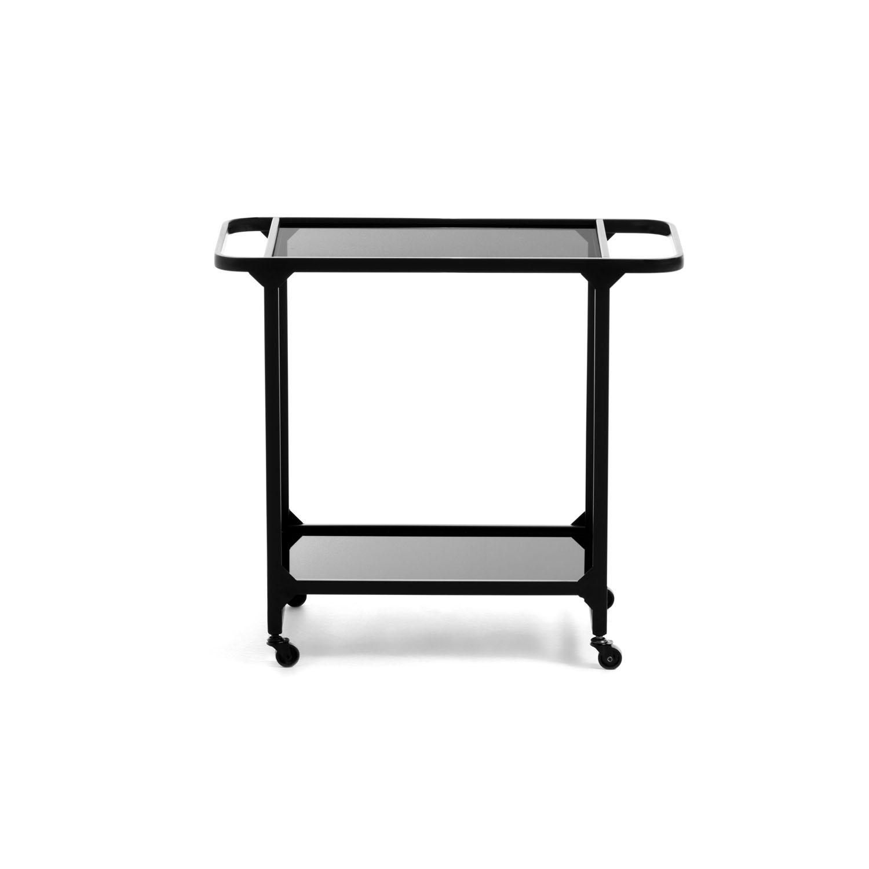 LAFORMA Duilia rullebord m. hylde og hjul - sort glas og metal