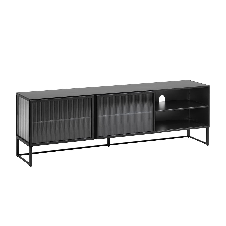 LAFORMA Trixie TV-bord, m. 2 låger - klar glas og sort stål (180x58)