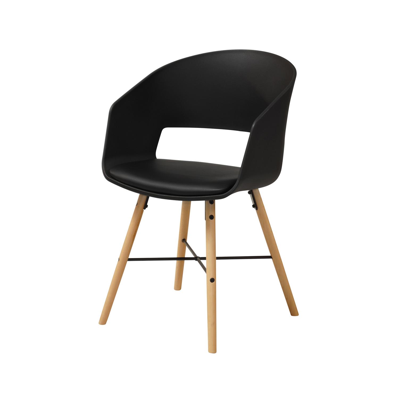 ACT NORDIC Luna 10 spisebordsstol m. armlæn - sort plastik, PU og stål samt natur bøg