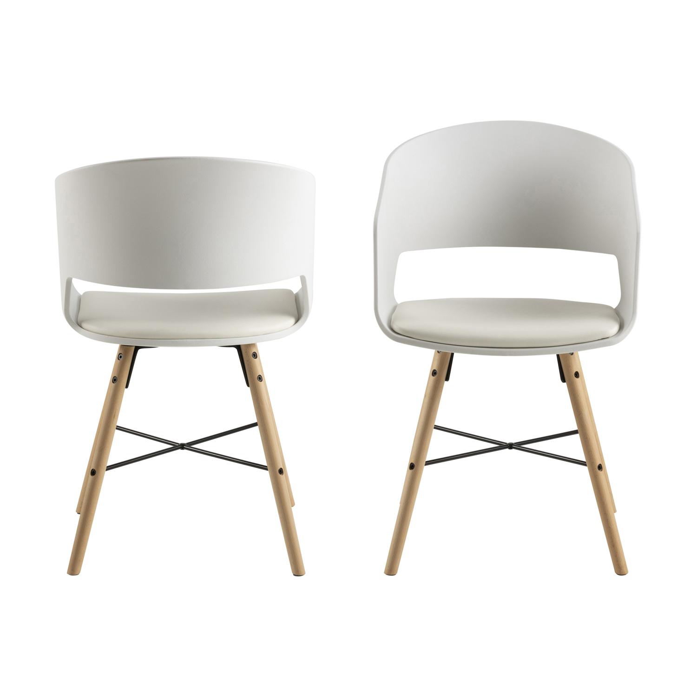 ACT NORDIC Luna 10 spisebordsstol m. armlæn - hvid plastik og PU, natur bøg og sort stål