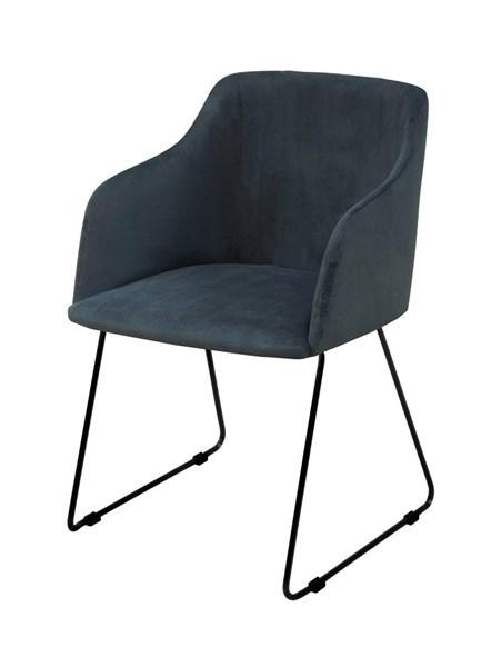 Casablanca spisebordsstol - mørkeblåt stof/sorte metalben, m. armlæn
