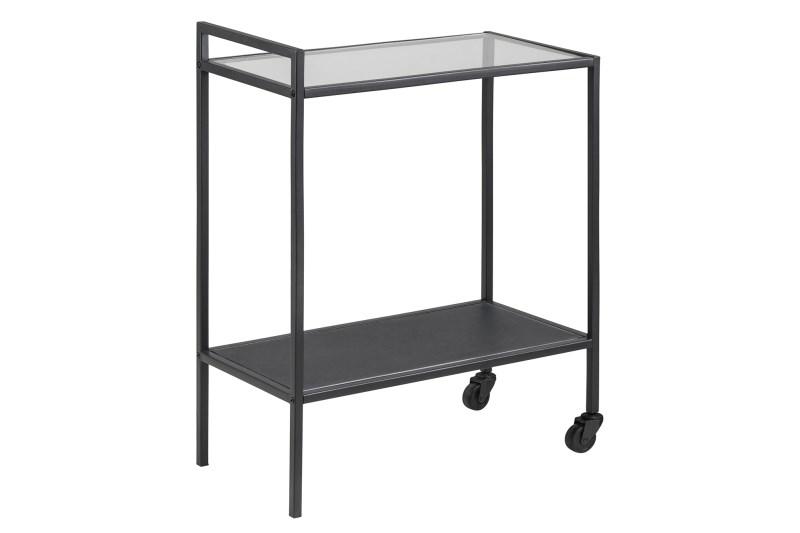 Seaford rullebord - glas/mat sort metal, 2 hjul