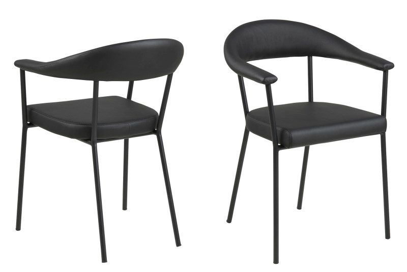Image of   Ava spisebordsstol - sort kunstlæder og metalstel