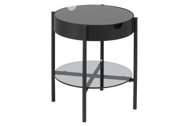 Tipton bakkebord - røgfarvet glas/sort metal, rund (Ø45)
