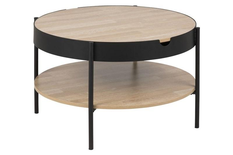Tipton bakkebord - melamin eg/sort metal, rund (Ø75)