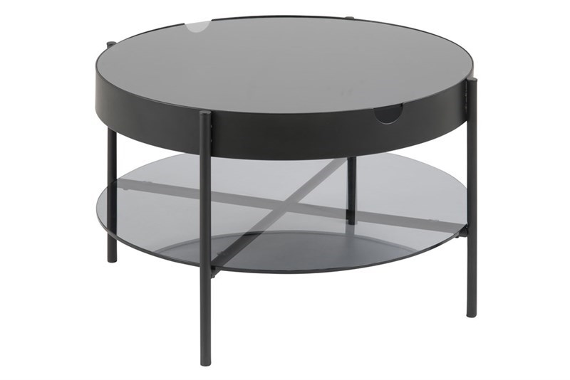 Tipton bakkebord - røgfarvet glas/sort metal, rund (Ø75)