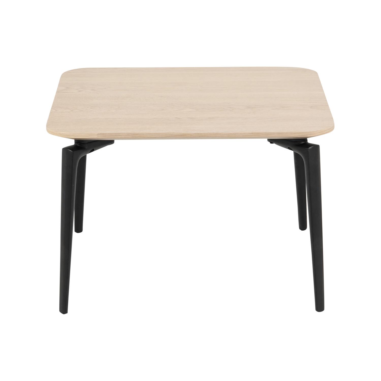 Kvadratisk Connect Sofabord - Natur Egetræsfiner Og Sort Stål (60X60) Dagligstue
