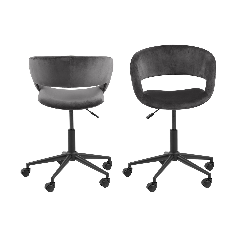 Billede af Act Nordic Grace skrivebordsstol m. armlæn og bløde hjul - mørkegrå stof og sort metal
