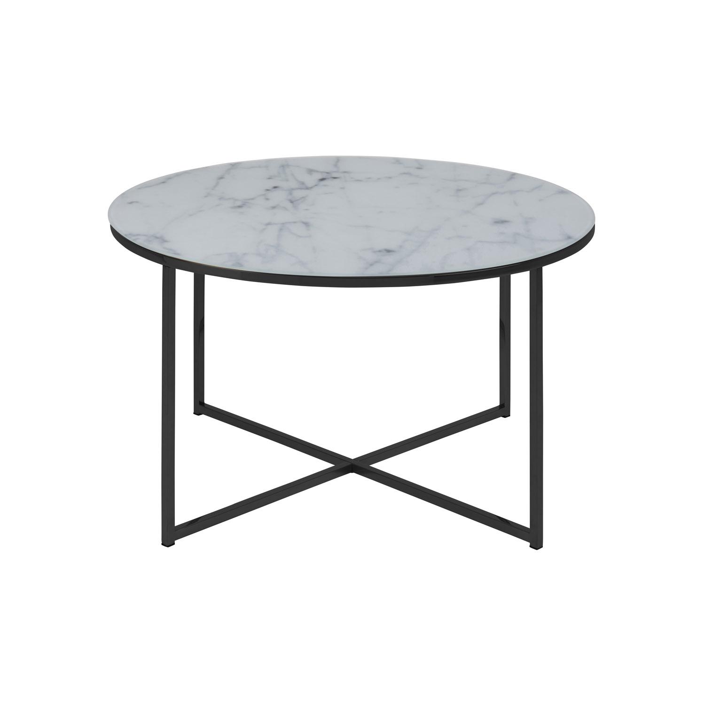 Rund Alisma sofabord - hvid glas m. marmor print og sort metal (Ø80)