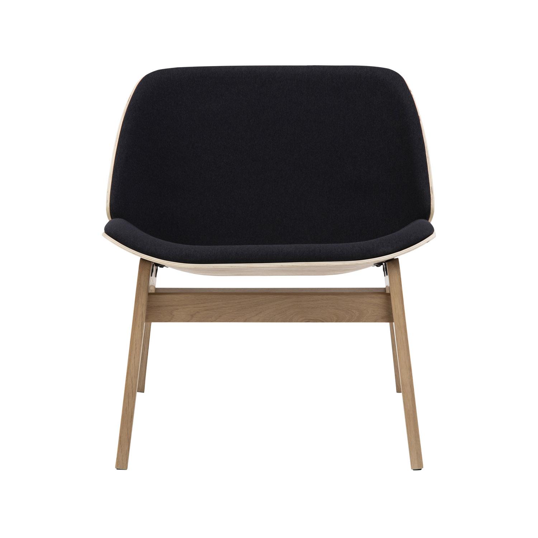Image of   Aks 150 loungestol - natur egetræsfiner og sort stof