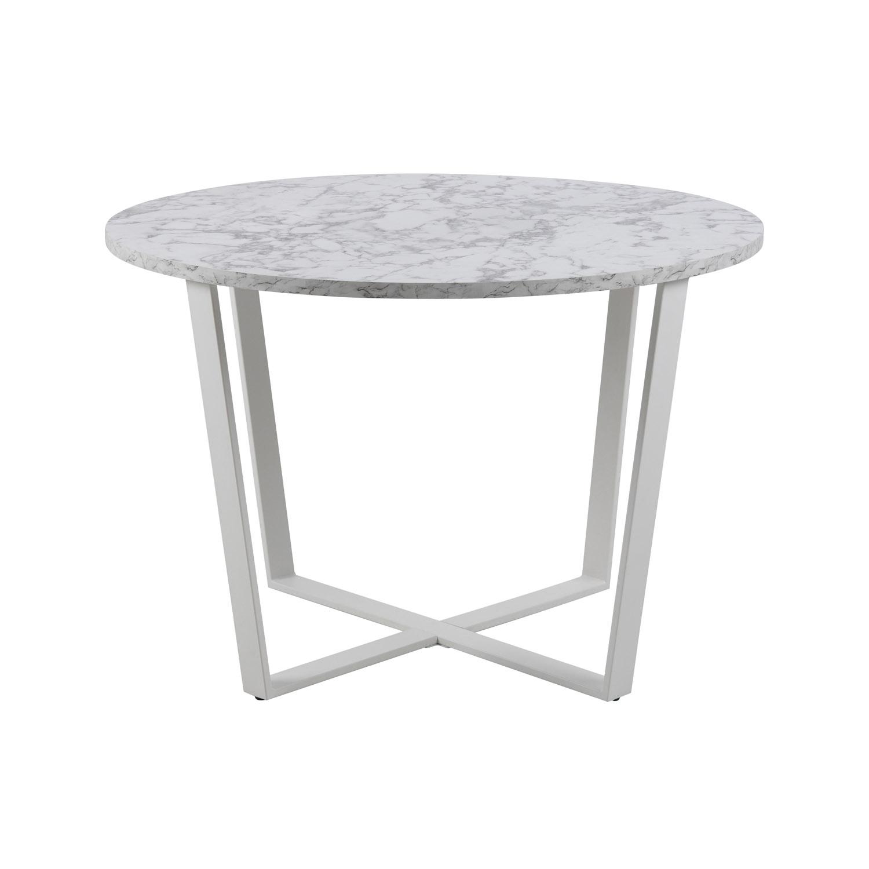 Rund Amble Spisebord - Hvid Melamin M. Marmor Print Og Hvid Metal (Ø110)