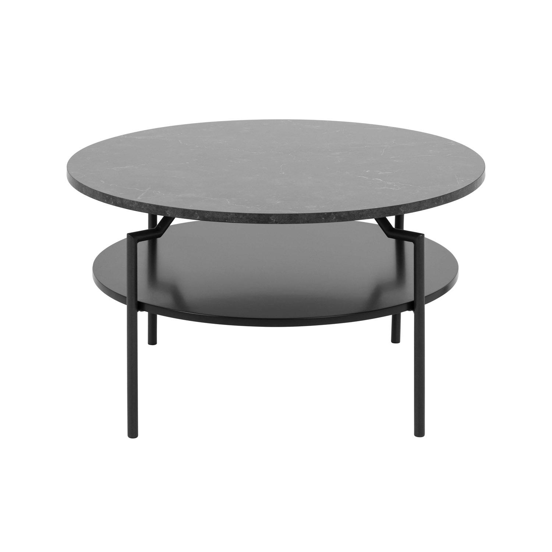 Goldington sofabord m. 1 hylde i sort MDF - sort melamin m. marmorprint og metal (Ø80)