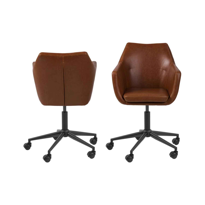 Billede af Act Nordic Nora skrivebordsstol m. armlæn, 5 stjernet fod og hjul - vintage cognac PU og sort metal