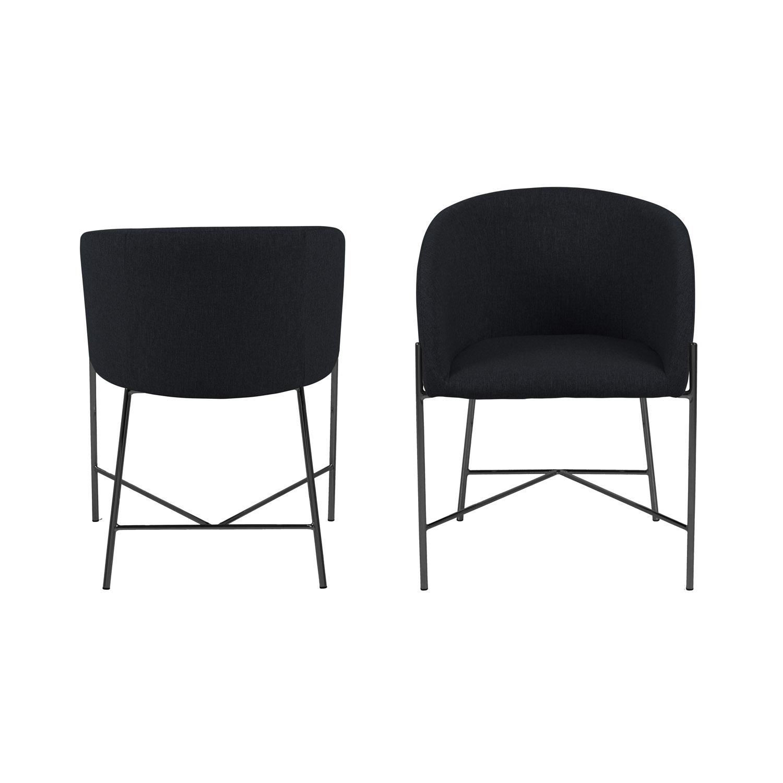 Nelson 130 spisebordsstol m. armlæn - sort stof og stål