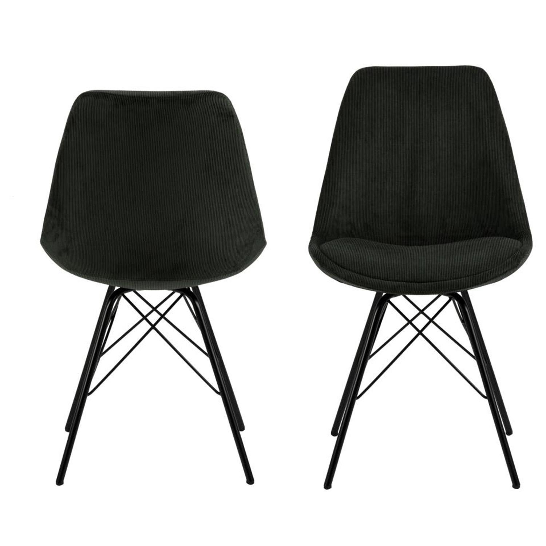 ACT NORDIC Eris spisebordsstol - mørkegrøn stof og sort metal