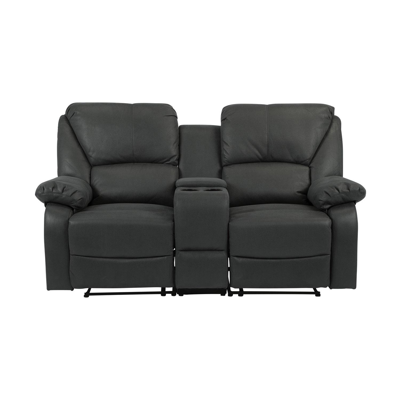 Helsinki 2 pers. sofa m. recliner, 2 kopholdere og opbevaring - grå stof og metal