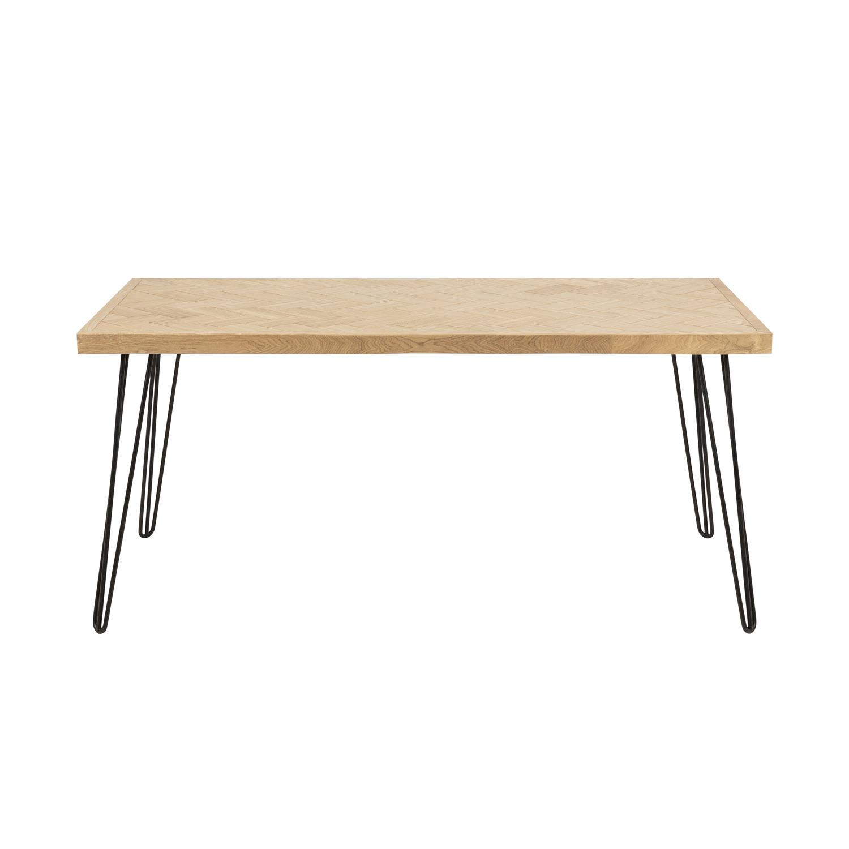 Rektangulær Maidstone spisebord - natur asketræsfiner og sort metal (160x80)