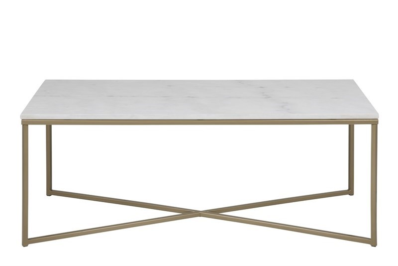 Alisma Sofabord i marmor - rektangulær, inkl plastik fodsko, (46x120x60)