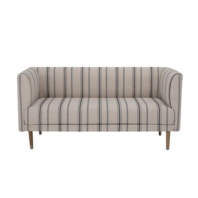 BLOOMINGVILLE Nolan sofa, 2 personers – hvidt polyester m. blå striber (160×77)