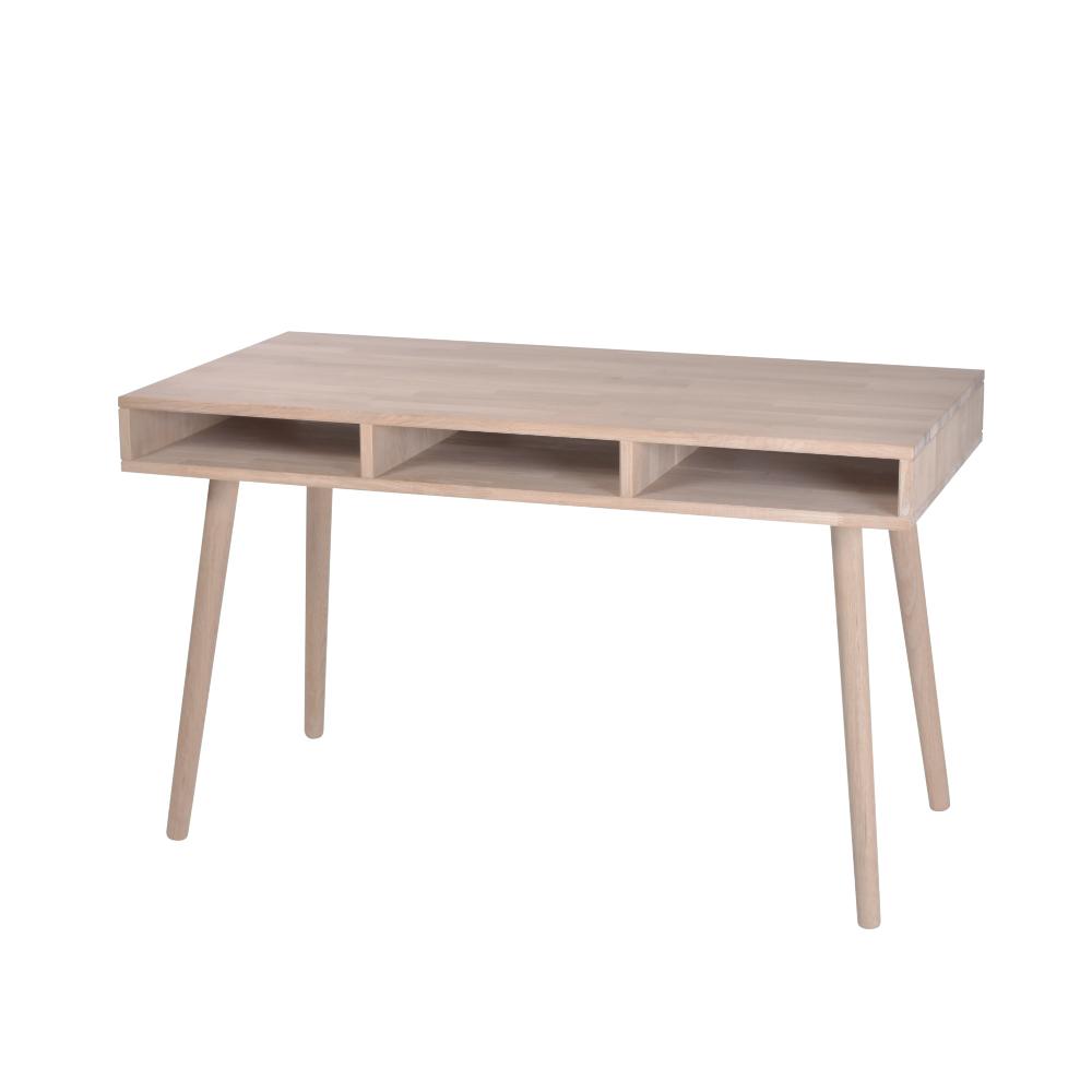 by tika – By tika boston skrivebord - naturfarvet egetræ, med 3 rum, rektangulær, (72x120cm) på boboonline.dk