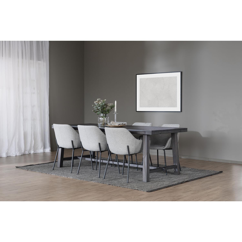 ROWICO Haley spisebordsstol, m. armlæn - lysegråt stof og sorte metalben