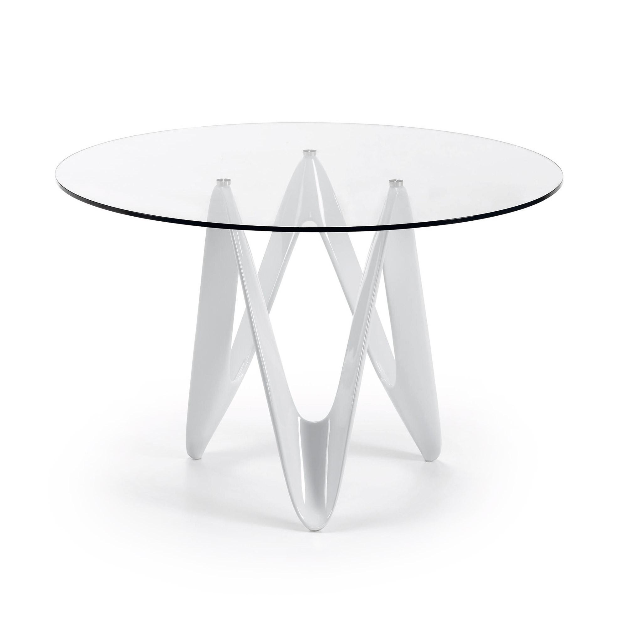 LAFORMA Eos spisebord - klar/hvid glas/glasfiber, rund (Ø120)