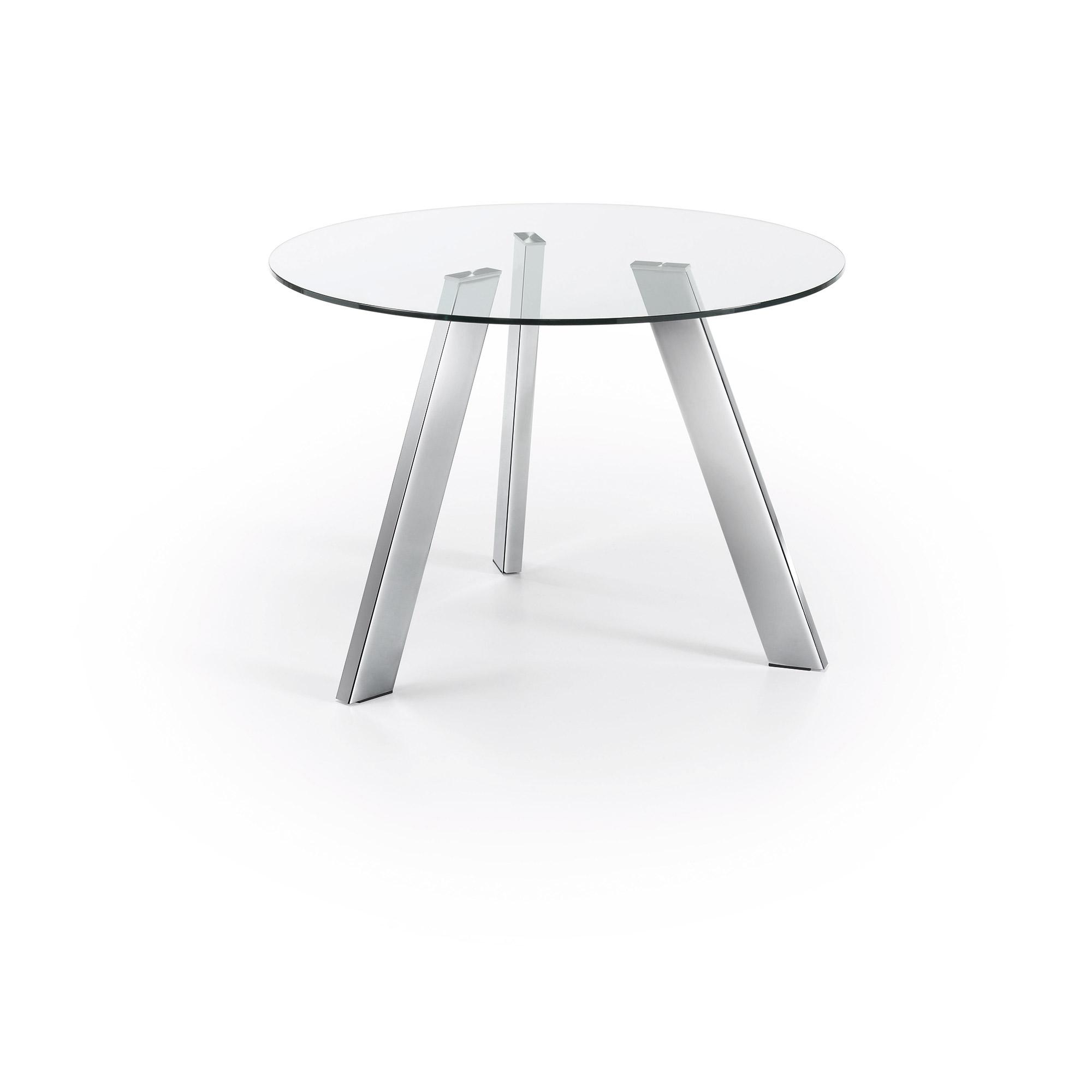 laforma – Laforma columbia spisebord - klar/sølv glas/metal, rund (ø110) på boboonline.dk