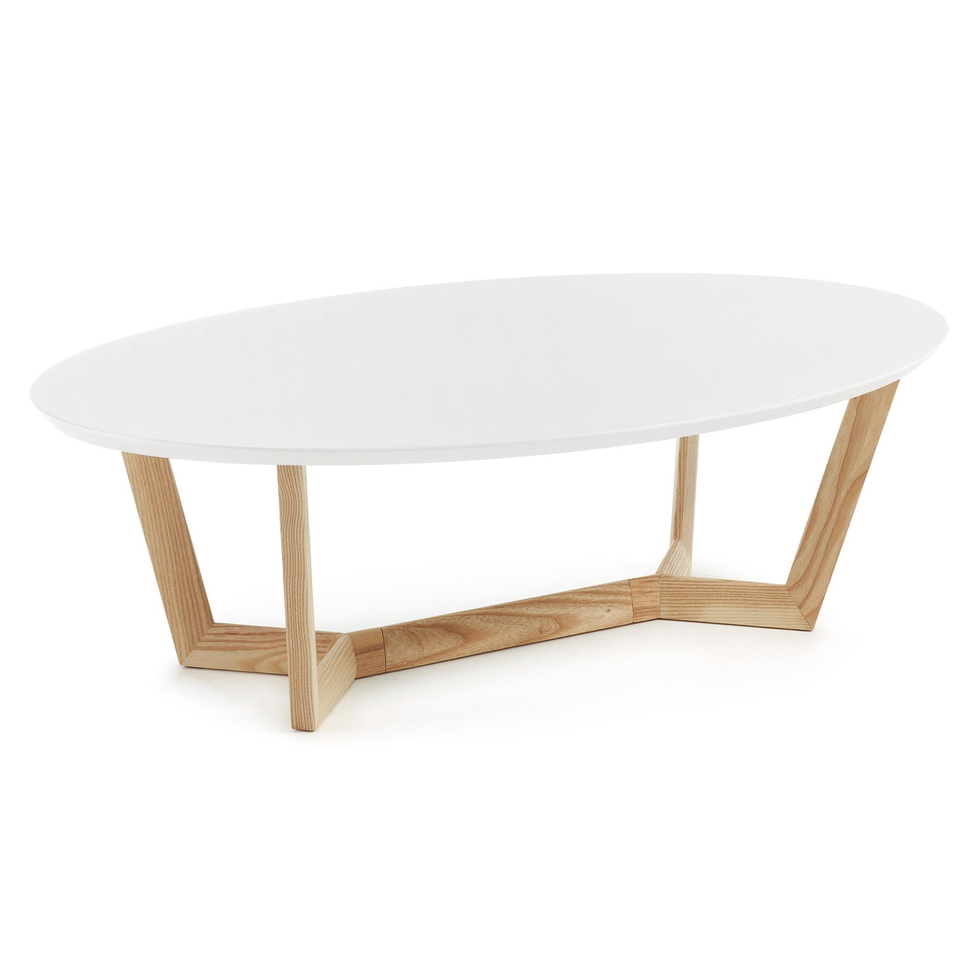 Laforma surf sofabord - hvid/natur træ, oval (120x70) fra laforma på boboonline.dk