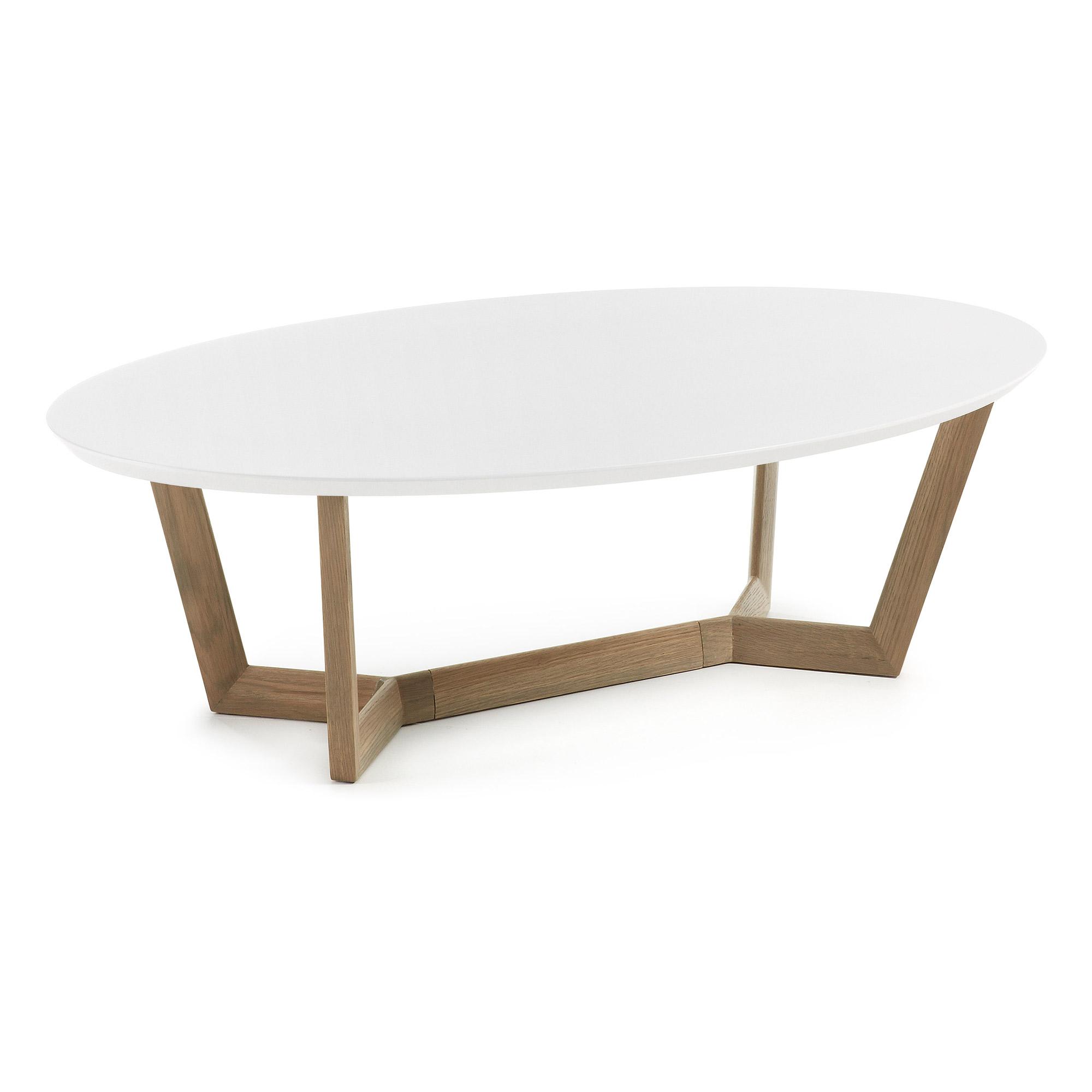 LAFORMA Surf sofabord - hvid/grå træ/egetræ, oval (120x70)