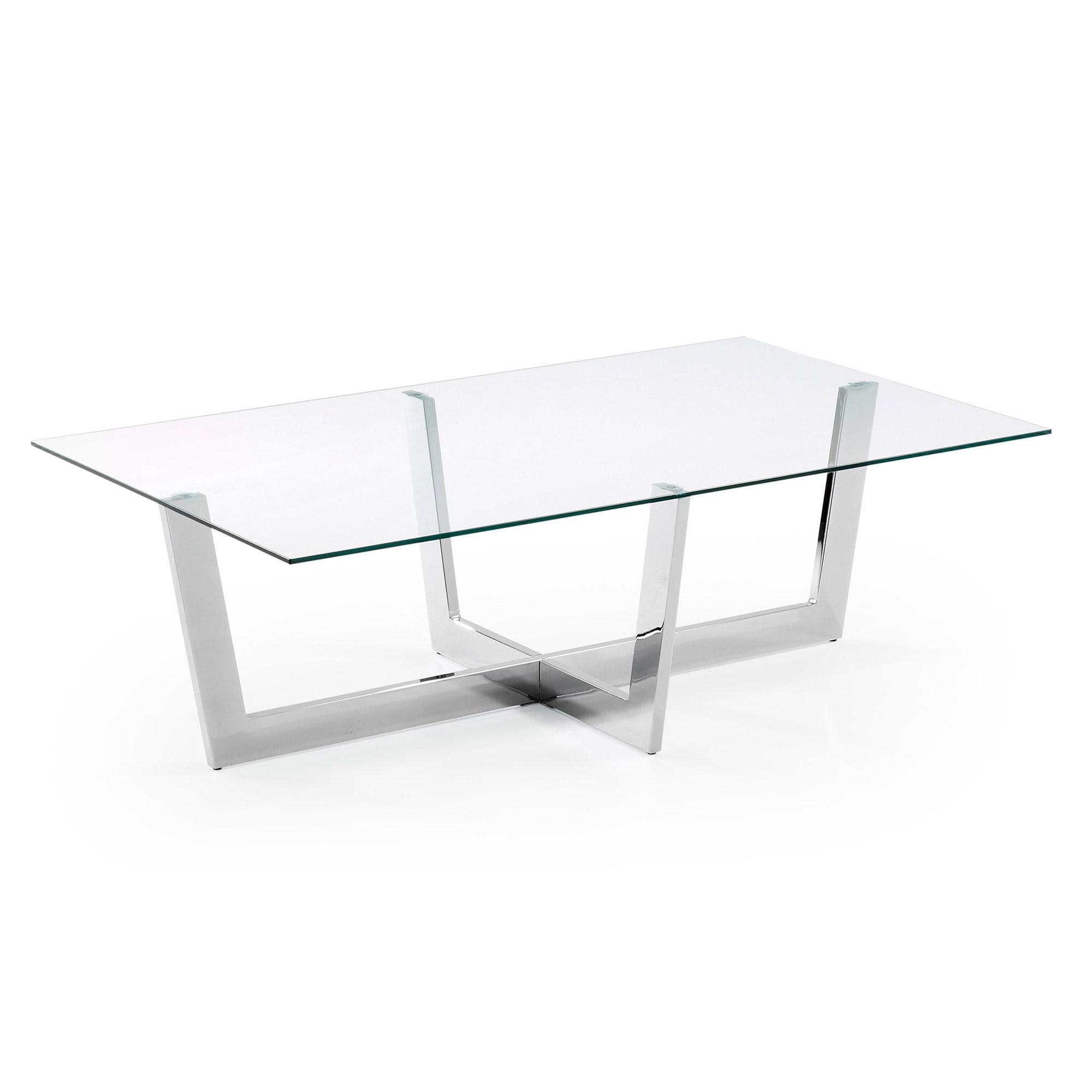 laforma Laforma plum sofabord - klar/sølv glas/stål, rektangulær (120x70) på boboonline.dk