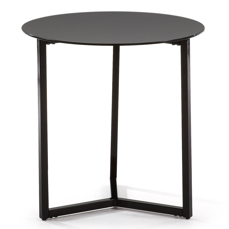Billede af LAFORMA Marae sidebord - sort glas og stål (Ø50)