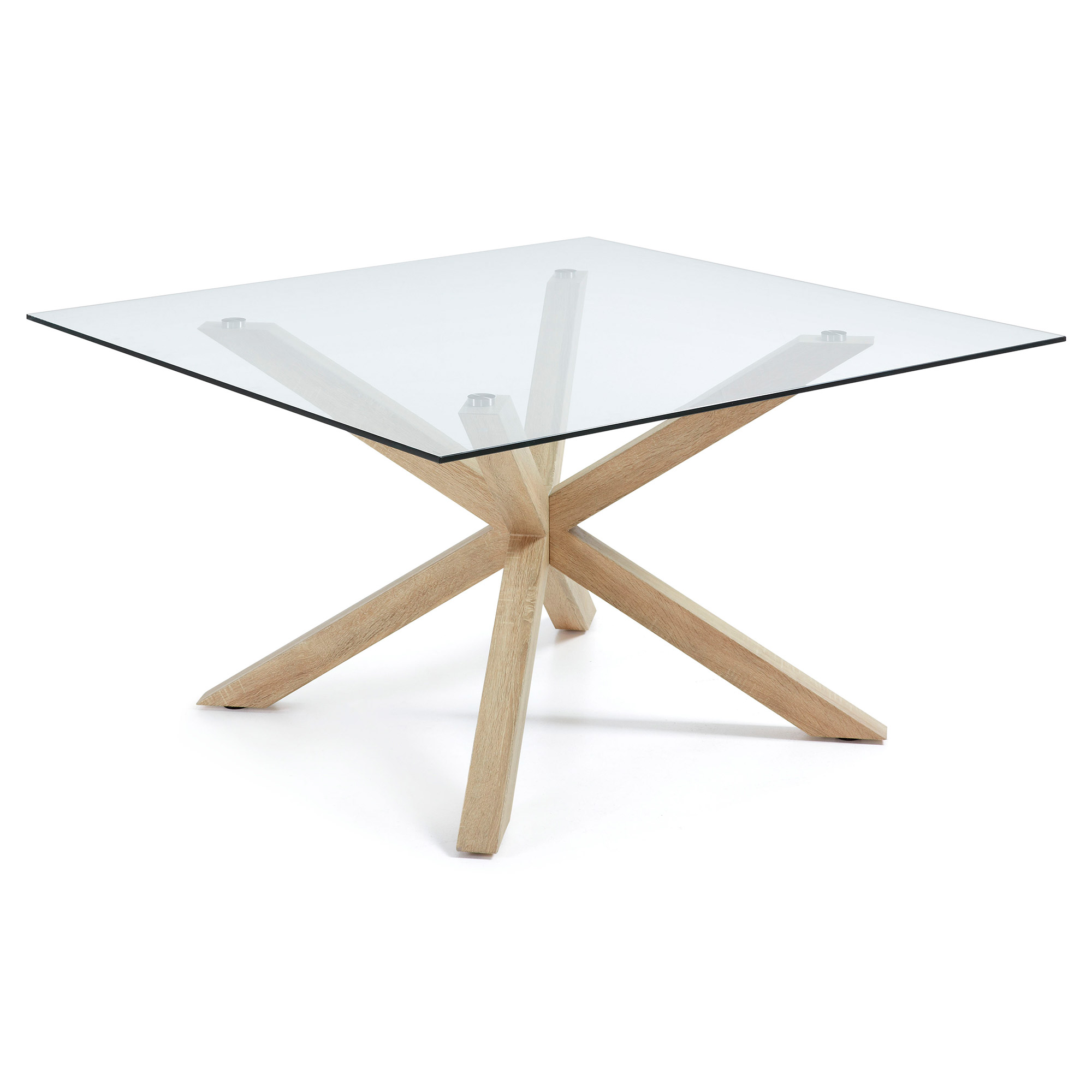 Laforma arya-c spisebord - klar glas og natur, kvadratisk (149x149) fra laforma på boboonline.dk