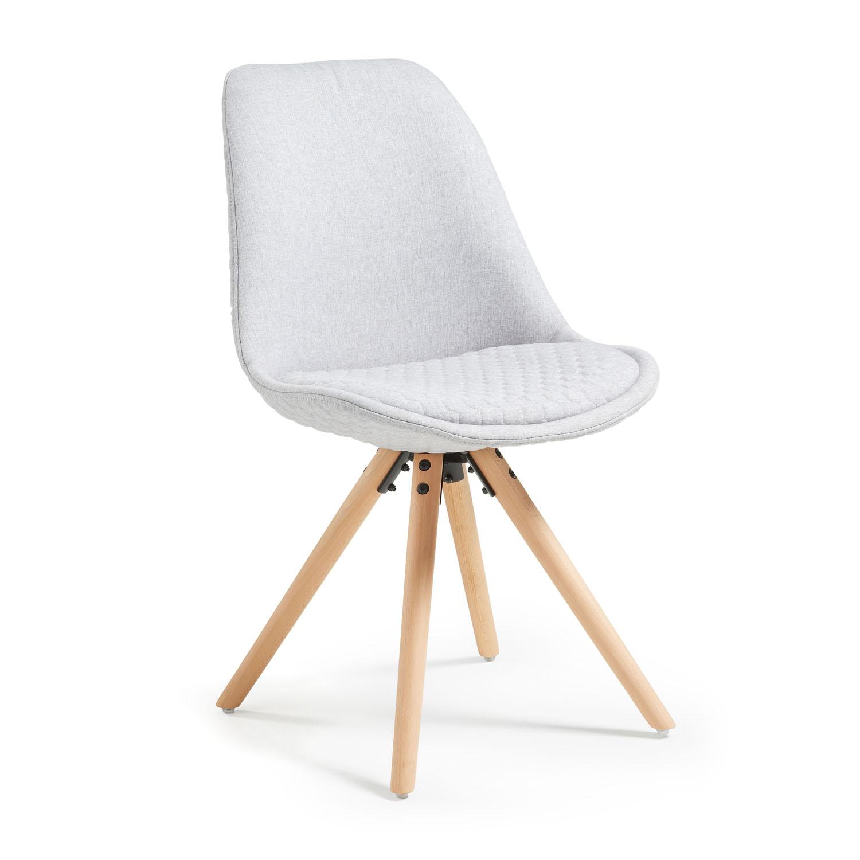 LAFORMA Lars spisebordsstol, u. armlæn - lysegråt quiltet stof m. ben af bøgetræ