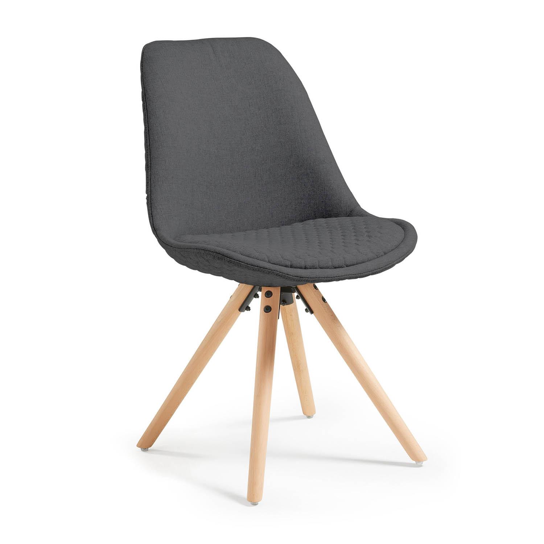 LAFORMA Lars spisebordsstol, u. armlæn - mørkegråt quiltet stof m. ben af bøgetræ