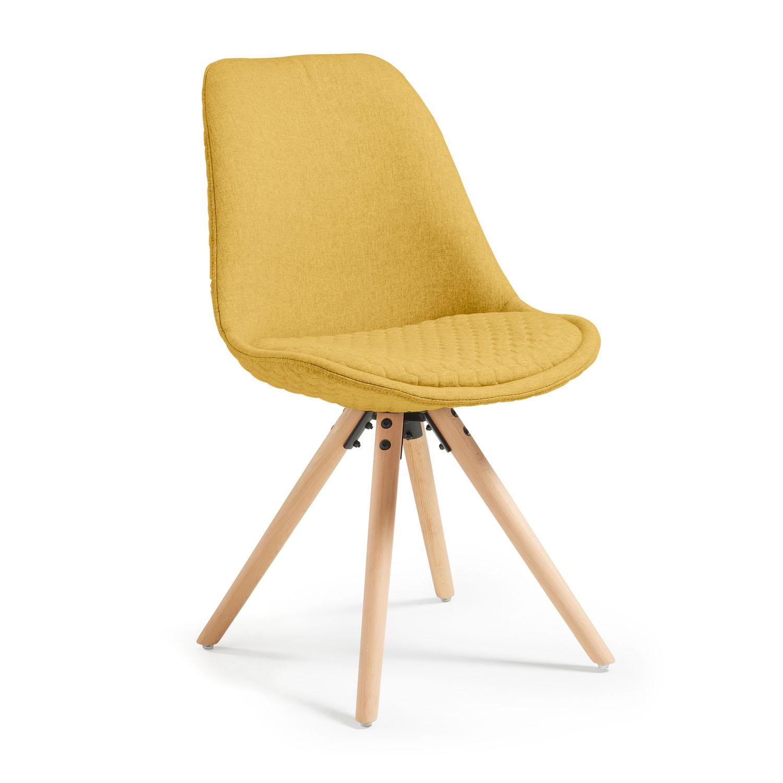 LAFORMA Lars spisebordsstol, u. armlæn - sennepsgul quiltet stof m. ben af bøgetræ