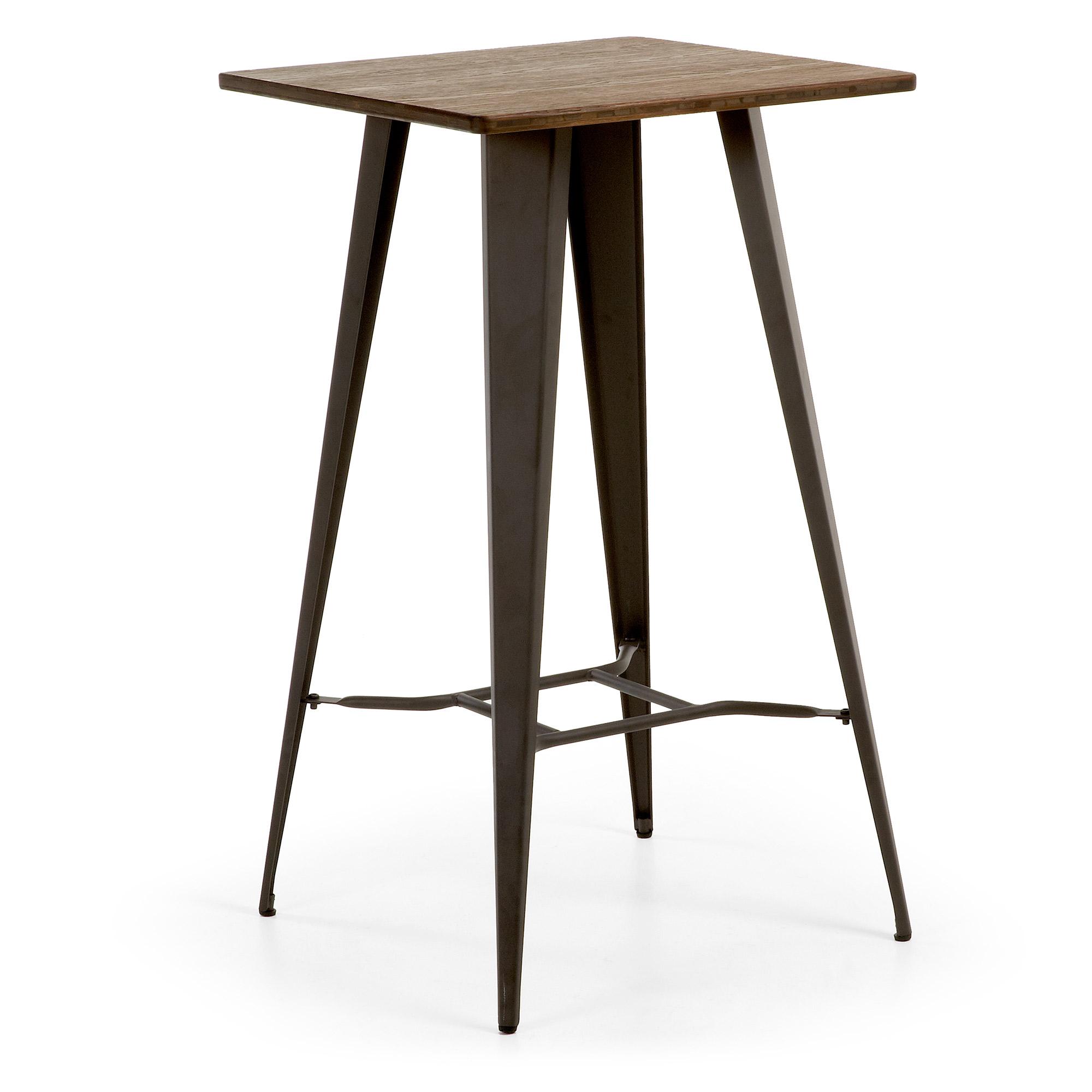LAFORMA Malibu cafébord - grafitgrå/natur stål/træ, høj