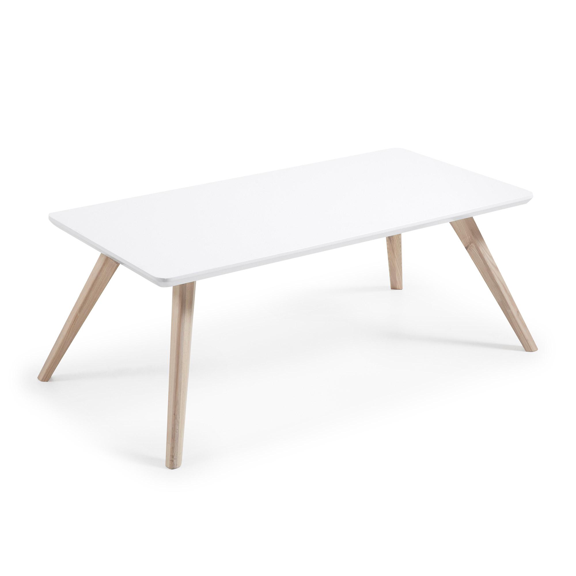 Laforma quatre sofabord - hvid/natur træ/asketræ, rektangulær (120x60) fra laforma på boboonline.dk