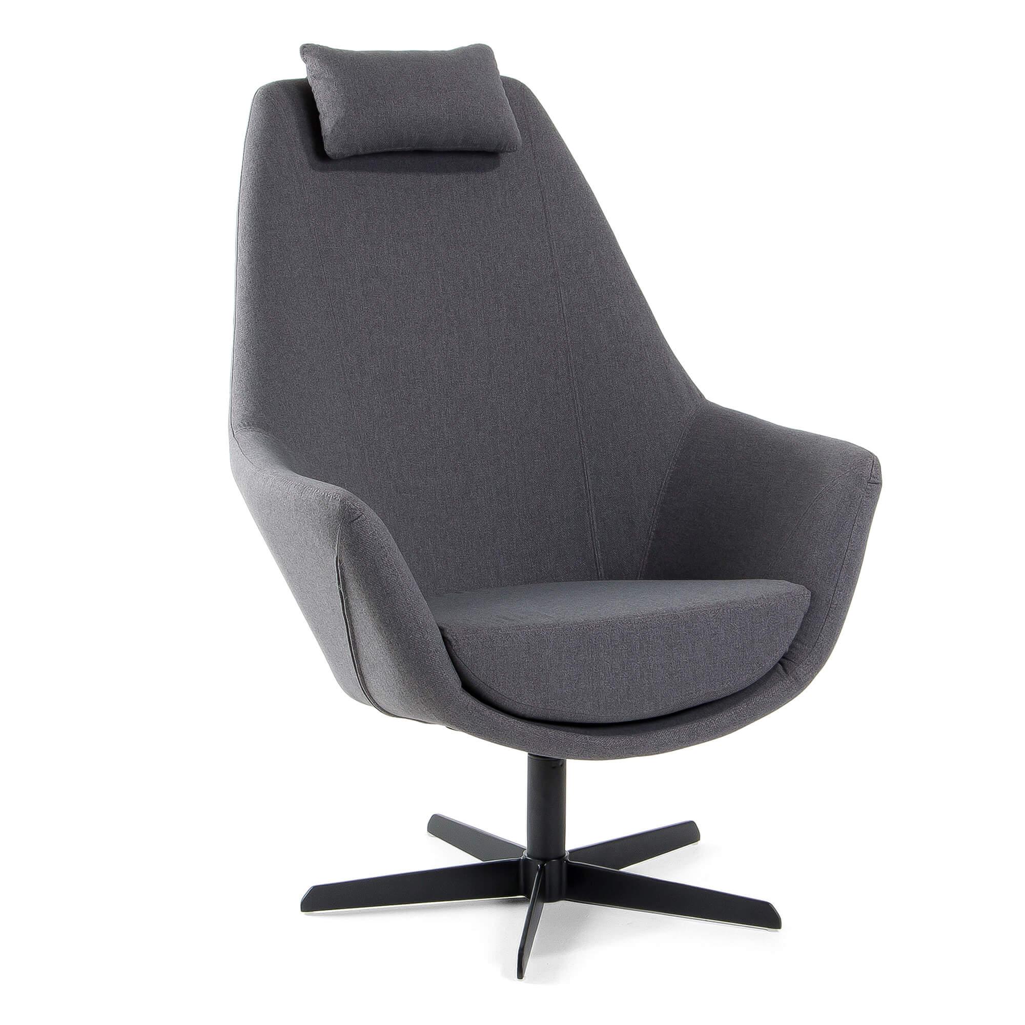 laforma Laforma trebor lænestol - mørkegrå/sort stof/stål, m. armlæn fra boboonline.dk