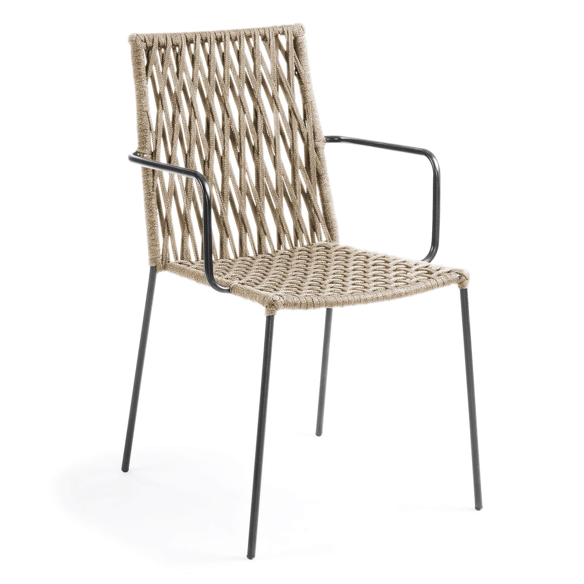 Laforma bettie lænestol - beige/grå polyester/stål, m. armlæn fra laforma på boboonline.dk