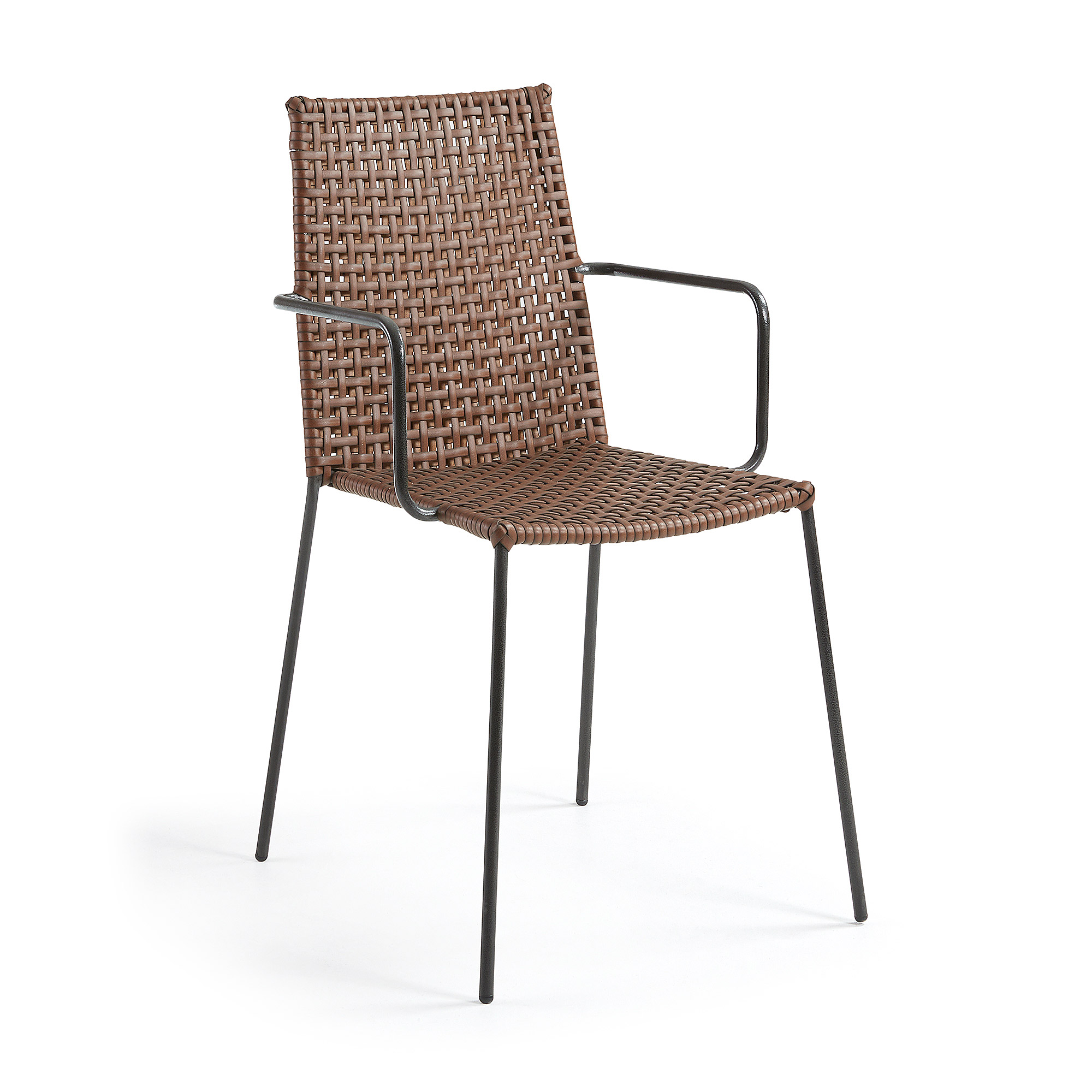 LAFORMA Blast lænestol - brun/grå syntetisk læder/stål, m. armlæn