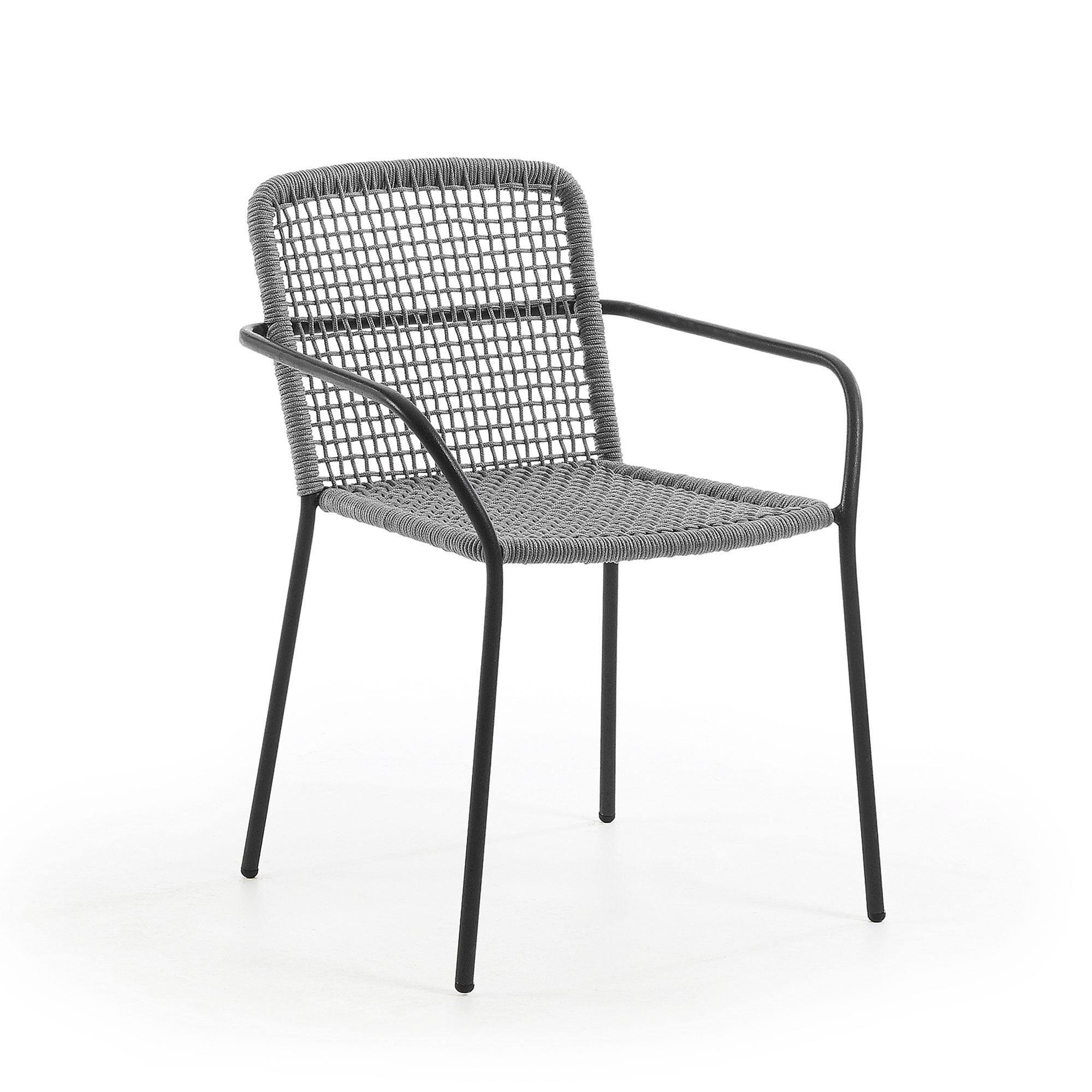 laforma – Laforma boomer lænestol - grå polyester/stål, m. armlæn på boboonline.dk
