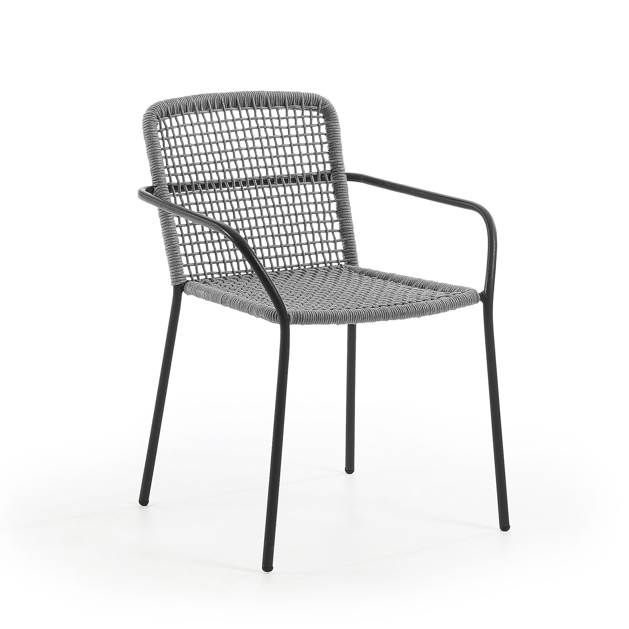 Laforma boomer lænestol - grå polyester/stål, m. armlæn fra laforma fra boboonline.dk